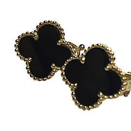Van Cleef & Arpels Alhambra 18K Yellow Gold & Black Onyx Earrings