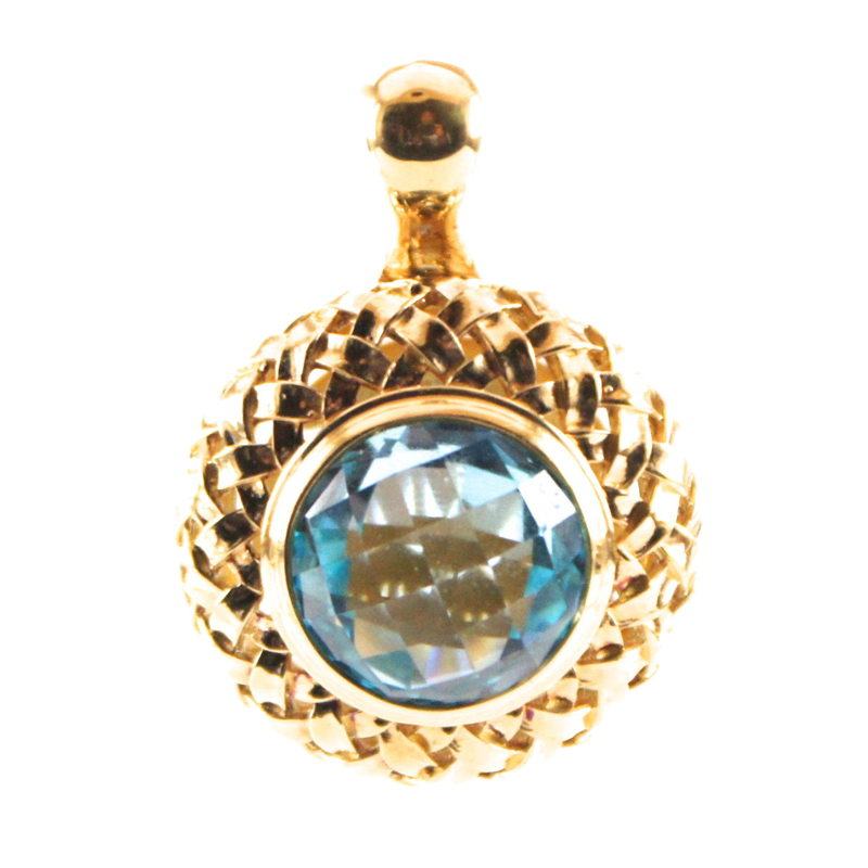 "Image of ""Slane 18K Yellow Gold Plated Sterling Silver Basketweave Blue Topaz"""