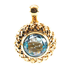 Slane 18K Yellow Gold Plated Sterling Silver Basketweave Blue Topaz Pendant