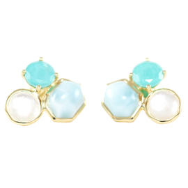 Ippolita 18K Yellow Gold Rock Candy 3 Stone Turquoise Float Stud Earrings
