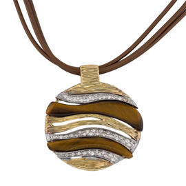 Roberto Coin 18K Yellow and White Gold Brown Onyx Diamond Elephantino Necklace
