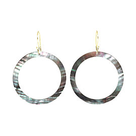 Ippolita 18K Yellow Gold Black Shell Slice Open Circle Drop Hook Earrings
