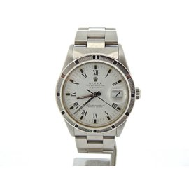 Rolex Date Stainless Steel With White Roman Peg Dial Quickset Oyster Watch