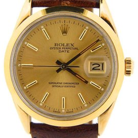 Rolex Date 15505 34mm 14K Yellow Gold Watch