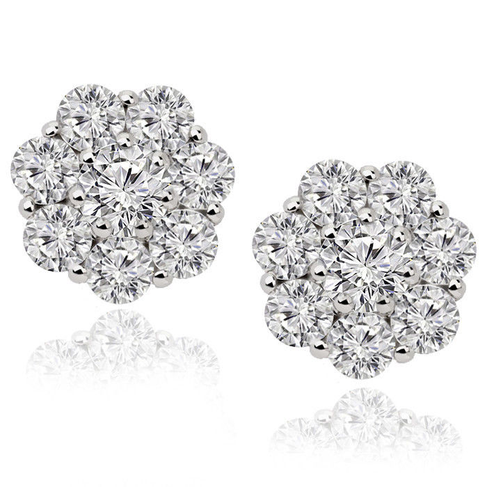 "Image of ""14K White Gold Round Diamond 1.20ct Flower Cluster Stud Earrings"""