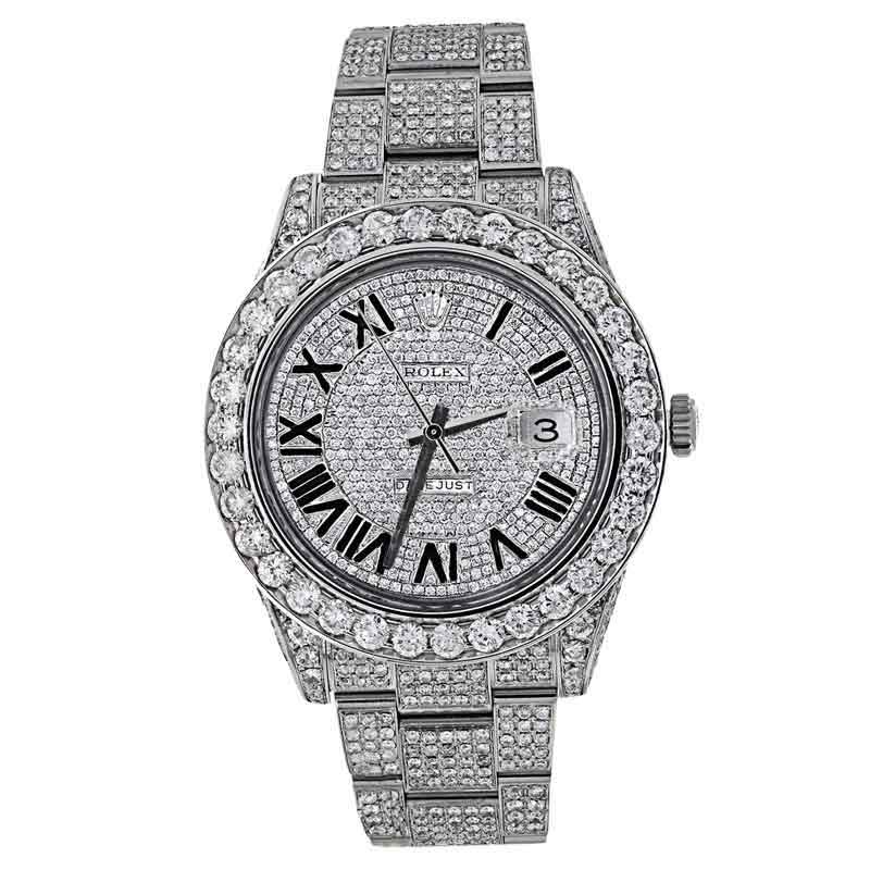 """Image of """"Rolex Datejust II Full Iced Out 30ct Diamond Mens 41mm Watch"""""""