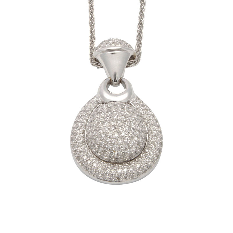 "Image of ""18K White Gold Large Drop Diamond Pendant Necklace"""