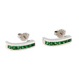 18K White Gold Green Tsavorite Huggie Earrings