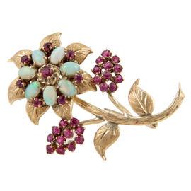 18K Yellow Gold Australian Opal & Ruby Floral Brooch