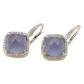 Rina Limor 18K White Gold Iolite & Diamond Earrings