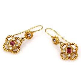 Taubes 18K Yellow Gold Multi Colored Gemstone & Diamond Drop Earrings