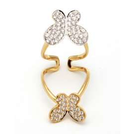 Mariposa 18K Yellow/White Gold Diamonds Double Butterfly Ring