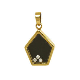 Vintage Chopard Luc 18K Yellow Gold Happy Diamonds & Black Enamel Pendant