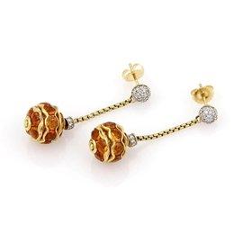 David Yurman 18K Yellow Gold Diamond & Citrine Dangle Drop Earrings