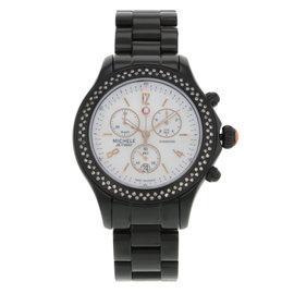 Michele Jetway Steel & Diamonds Custom Black PVD Coating Quartz Ladies Watch