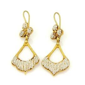 22K Yellow Gold Seed Pearl Dangle Drop Earrings