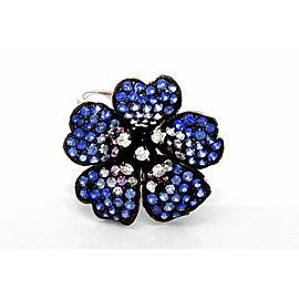 18K White Gold Diamond Sapphire Flower Cocktail Ring