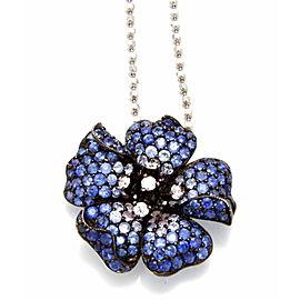 18K White Gold Diamond Sapphire Flower Necklace