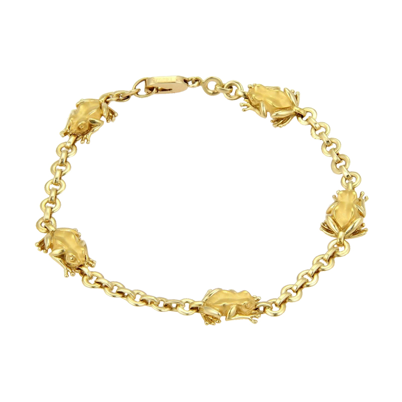 "Image of ""Carrera y Carrera 18kt Yellow Gold 5 Frogs Chain Link Bracelet"""