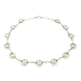 Judith Ripka 18K Yellow Gold Sterling Silver & Diamond Open Circle Link Necklace