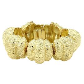 Hammerman Brothers Vintage 18K Yellow Gold Hammered Design Hefty Bracelet