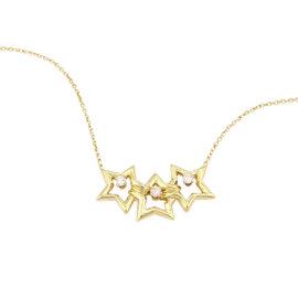 Tiffany & Co. 18K Yellow Gold 3 Star Diamond Pendant Necklace