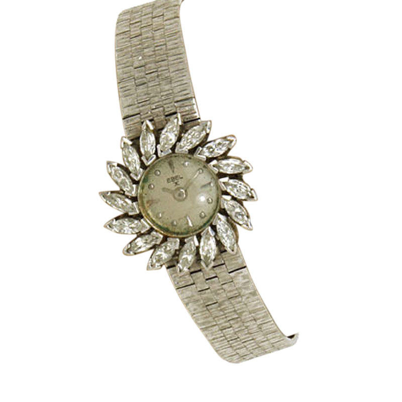 "Image of ""Ebel 18K White Gold & Diamond Swirl Bezel Watch"""