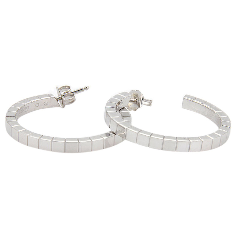 "Image of ""18K White Gold Cartier Lanier Hoop Earrings"""