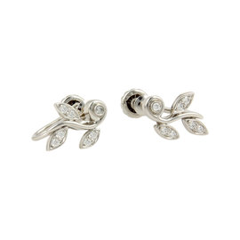 Tiffany & Co. Platinum Diamond Garland Designer Earrings