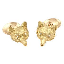 14K Yellow Gold Diamond Wolf Head Fashion Cufflinks