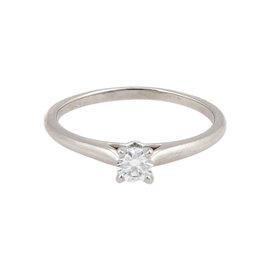 Cartier Platinum Round Brilliant Diamond Solitaire Ring