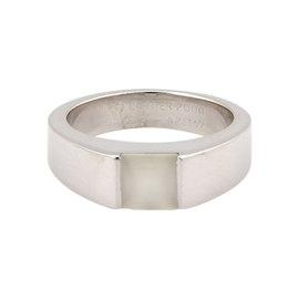Cartier 18K White Gold Moonstone Solitaire Designer Size 6.25 Ring