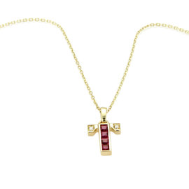 Mikimoto 18k Yellow Gold Diamond & Rubies Cross Pendant Necklace