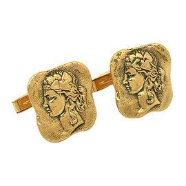 Art Nouveau 14K Gold Detailed Cameo Cufflinnks