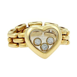 Chopard 18K Yellow Gold Happy Diamonds 3 Floating Diamond Heart Flex Chain Band Ring