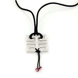 Cartier Le Baiser Du Dragon 18K White Gold & Garnet Pendant Silk Cork Necklace