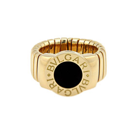 Bulgari 18K Yellow Gold Tubogas Onyx Ring