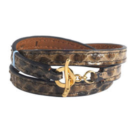 Ippolita 18K Yellow Gold Brown Python Leather Wrap Toggle Pelle Bracelet