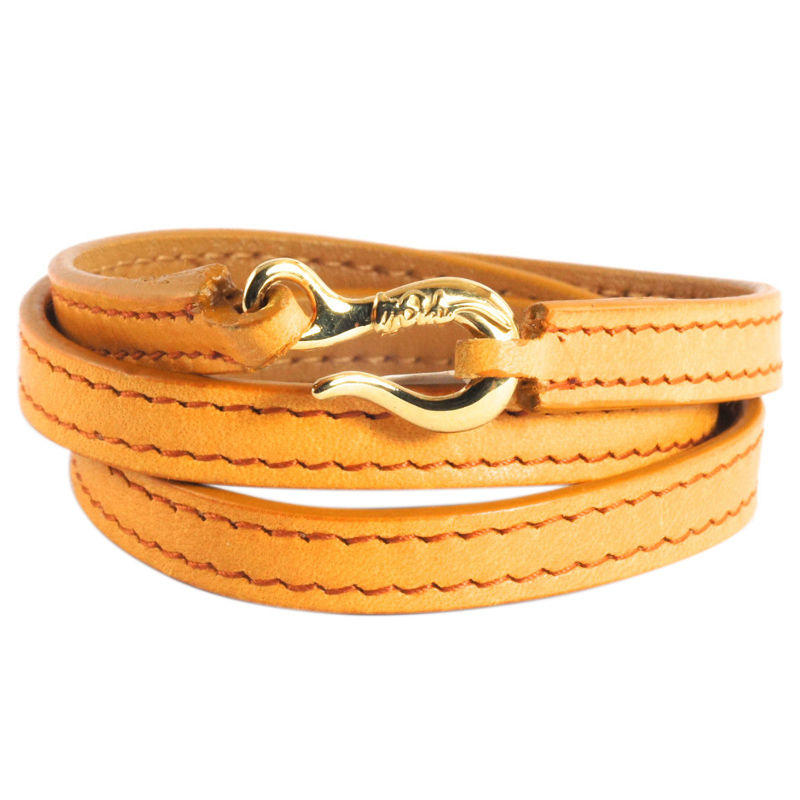 "Image of ""Ippolita 18K Yellow Gold Hook Burnt Orange Leather Wrap Bracelet"""