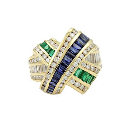 Charles Krypell 18K Yellow Gold Diamond Ruby & Emerald Ring