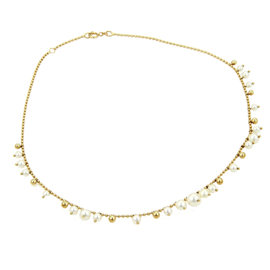 Mikimoto Elegant 18K Yellow Gold Graduated Pearl Bead Link Necklace