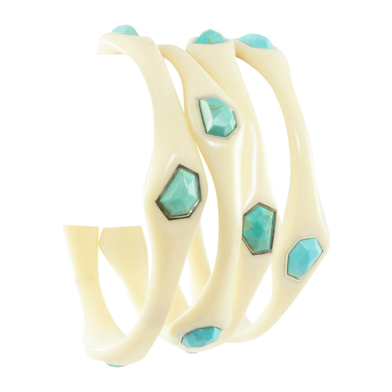 "Image of ""Ippolita Ivory Resin Sterling Silver Turquoise Stone Bangle Bracelet"""