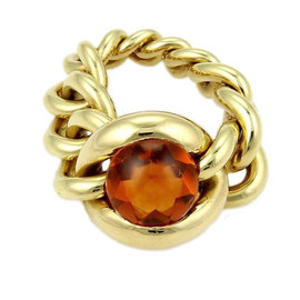 Chanel 18K Yellow Gold Cabochon Citrine Chain Link Flex Band Ring