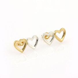 Tiffany & Co. 18K Yellow Gold Sterling Silver Double Heart Designer Earrings