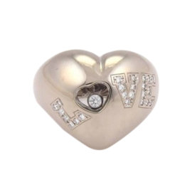 Chopard 18K White Gold Happy Diamonds Love Heart Ring
