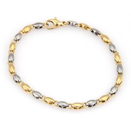 Bvlgari 18K Yellow Gold & Steel 2 Tone Oval Link Bracelet