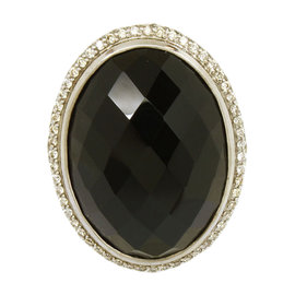 David Yurman Sterling Silver Diamond & Faceted Smokey Topaz Cable Ring