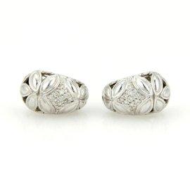 John Hardy Kawun Buddha Belly Sterling Silver Pave Diamond Earrings