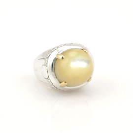 John Hardy Sterling Silver & 18K Gold Cabochon Ring