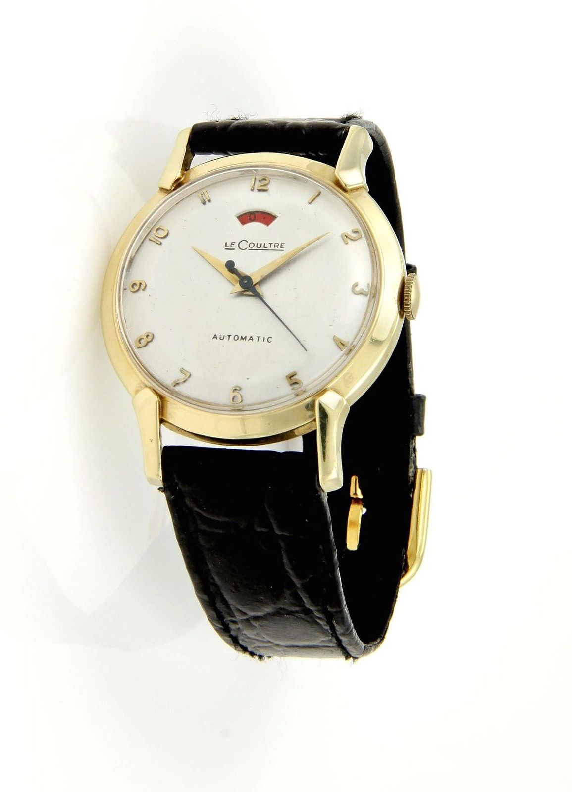 "Image of ""Le Coultre 14k Yellow Gold Case Vintage Men's Wrist Watch"""